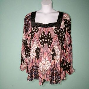 Melissa Paige Boho Contrasting Print Crinkle Top